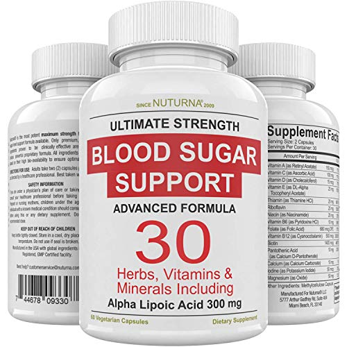 Blood Sugar Support Formula - 30 Herbs, Vitamin & Minerals for Diabetic Blood Sugar Supplement Control & Extra Energy with 300 mg Alpha Lipoic & Cinnamon Support Diabetes Nutrition for Men & Women