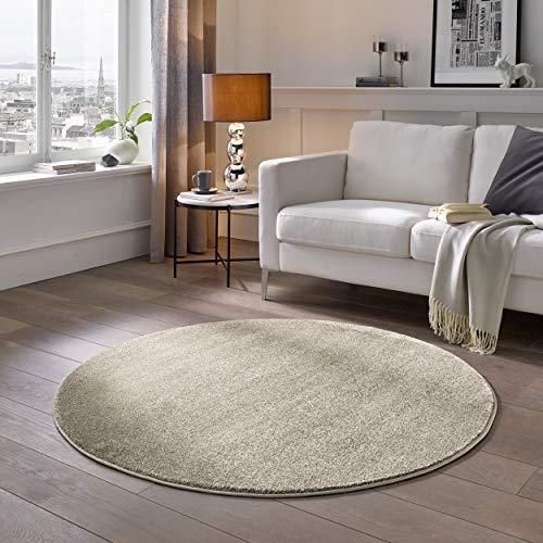 Kurzflor Teppich Designer | Flauschige Flachflor Teppiche fürs Wohnzimmer, Esszimmer, Schlafzimmer oder Kinderzimmer | Einfarbig, Schadstoffgeprüft (Natur Weiss, 150 cm rund)