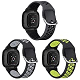 XIMU Sport Bands Compatible with Fitbit Versa 3 & Sense, 3-Pack Soft Silicone Waterproof Breathable Watch Strap Replacement Wristbands Accessories with Air Holes Women Men for Versa 3 Smart Watch
