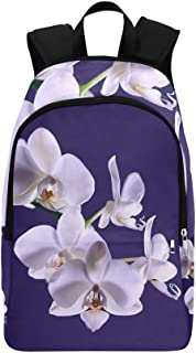 YUMOING Orchid Flower Plant Exotic White Tropical Casual Daypack Travel Bag College School Backpack for Mens and Women