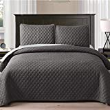 Exclusivo Mezcla Ultrasonic Reversible 3-Piece Full/Queen Size Quilt Set with Pillow Shams, Lightweight Bedspread/Coverlet/Bed Cover - (Grey, 92'x88')