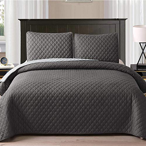 """Exclusivo Mezcla Ultrasonic Reversible 3-Piece Full/ Queen Size Quilt Set with Pillow Shams, Lightweight Bedspread/Coverlet/Bed Cover - (Grey, 92""""x88"""")"""
