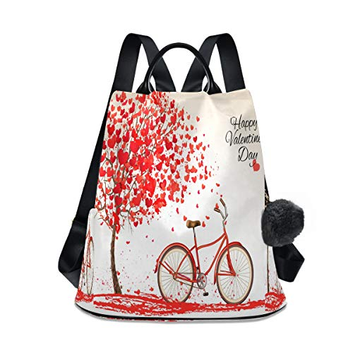 Happy Valentine's Day Bike And Love Tree Backpack Purse Anti Theft Bookbag Rucksack Bag for Women Fashion
