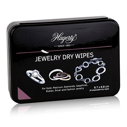 Hagerty Paño limpieza para joyería 25 pzs. Toallitas secas para limpieza de joyería I 25x 9,7 x 6,8 cm I toallitas finas desechables limpieza piedras preciosas y cuidado joyería da brillo perfecto