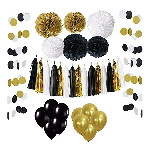 Wartoon 33 Pcs Paper Pom Poms Flowers Tissue Balloon Tassel Garland Polka Dot Paper Garland Kit for Birthday Wedding Party Decorations - Black and Gold