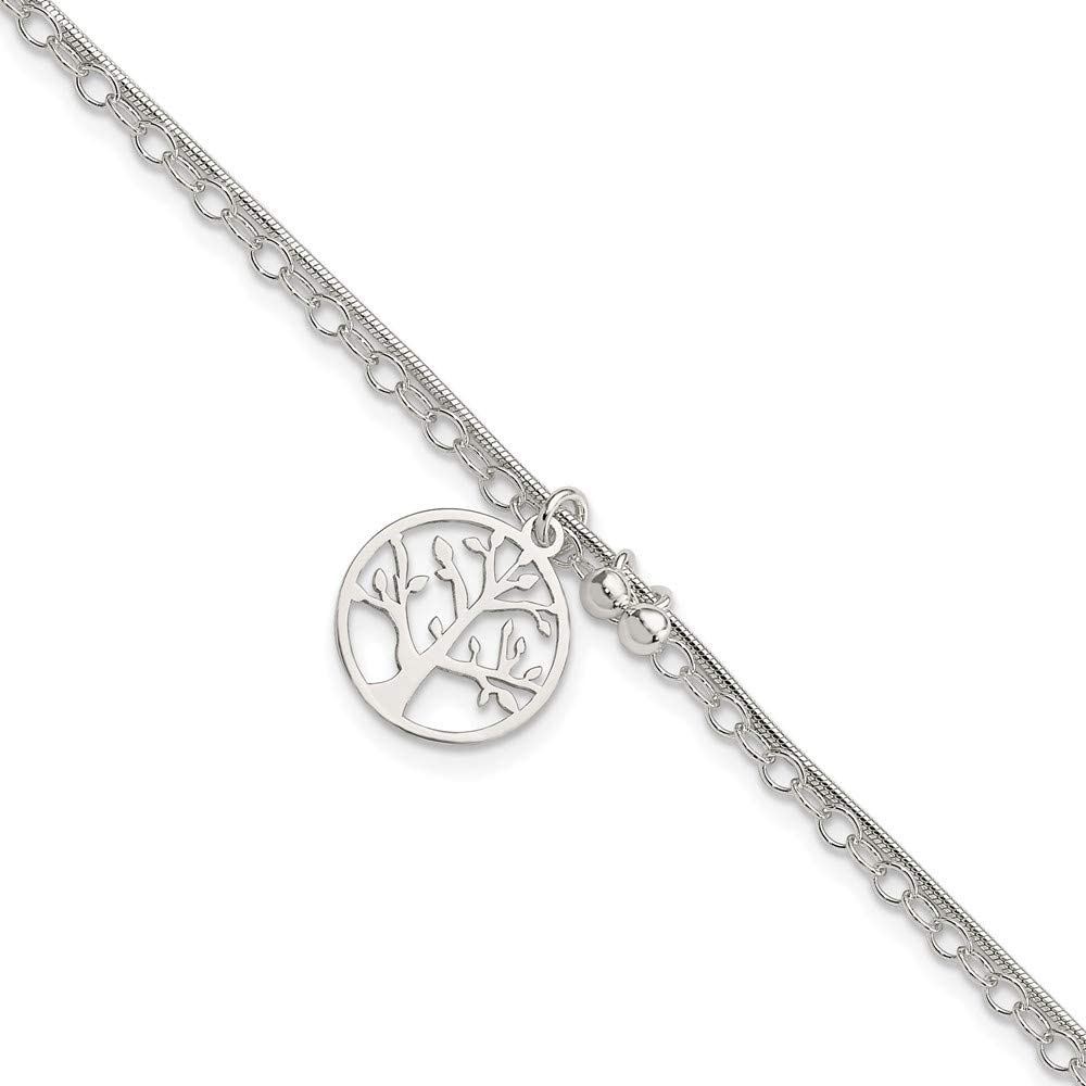 925 Sterling Silver 2 Strand Tree Memphis Mall Bracelet 7.5 Inch Fine Jewelry Max 61% OFF