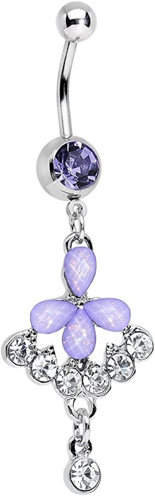 Body Candy Stainless Steel Clear Drops and Purple Glittery Flower Dangle Belly Ring