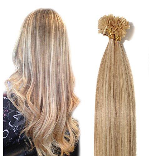 Extensions Echthaar Bondings 100% Remy Haarverlängerung 100 Strähnen - 50g bondings extensions echthaar 0,5g (aschblond/gebleichtes Blond #18/613) 50cm