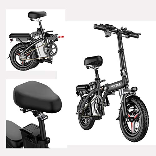 【US Shipping 】 Electric Bike, Folding Electric Bike Suitable for Adults and Teenagers, 14-Inch Foldable Lithium Battery Driving and Scooter Bike-New National Standard 48V Electric Bike (BK)