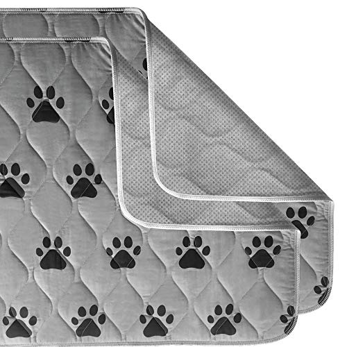 Gorilla Grip Original Reusable Pad and Bed Mat for Dogs 22x22, 2 Pack, Absorbs 2 Cups, Oeko Tex Certified, Washable Waterproof, Puppy Crate Training, Furniture Protection Pet Pads, Fit 24 Inch Crates
