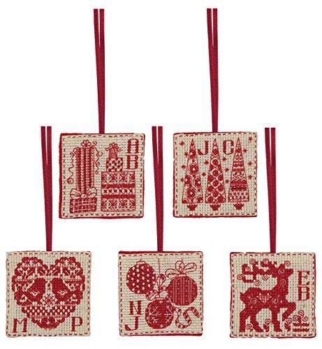 Kit de punto de cruz de anclaje: contado: etiquetas navideñas (juego de 5), multi, 6 x 6 cm
