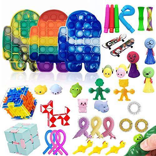 Fidget Toy, 39 Stück Fidget Toy Set,Fidget Toy Set Antistress Spielzeug Anxiety Toy für Anti-Angst und Stressabbau Sensory Toys für Kinder Erwachsene-Regenbogenfarben
