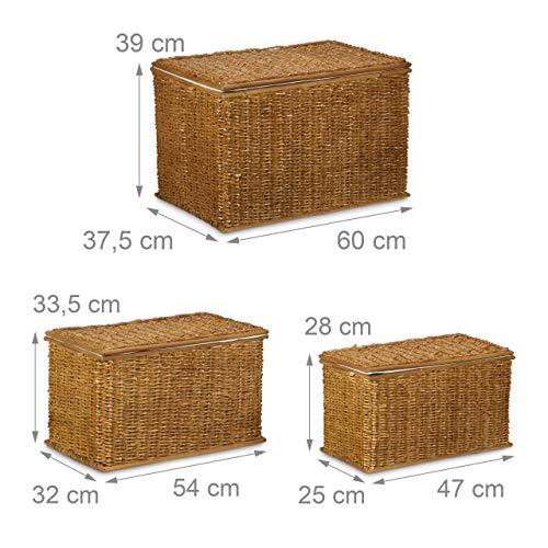 Relaxdays 3er Set Buri H x B x T: 39 x 60 x 37,5 cm Flechtoptik mit Deckel 71 L Korbtruhe mit herausnehmbarem Innenfutter Aufbewahrungstruhe atmungsaktiv stapelbare Wäschetruhe Natur, honigbraun - 4