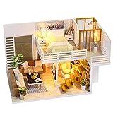 XZJJZ Dollhouse Miniature-Bricolaje de Madera Kit de la casa-Rompecabezas de la casa Modelo-Creativo Decoración del Aula con mobiliario y LED