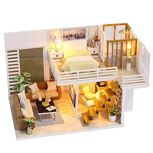 XZJJZ Miniatur-Puppenhaus-DIY Holzhaus Kit-Haus Puzzle Modell-Kreative Raumschmuck mit Möbeln und LED