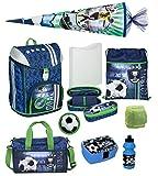 Familando Jungen Schulranzen-Set 9tlg. Scooli FlexMax Schul-Rucksack 1. Klasse mit Sporttasche, Schultüte 85cm groß und Regenschutz