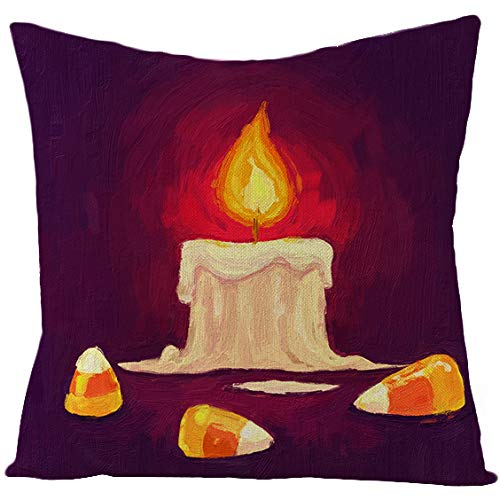 KunLS Halloween Cushion Cover 18 X 18 Cushion Covers Scary Night Trick Or Treat Pillow Cover, Happy Halloween Sofa Bed Throw Cushion Cover Decoration Cafe Home Decorative 45x45,7