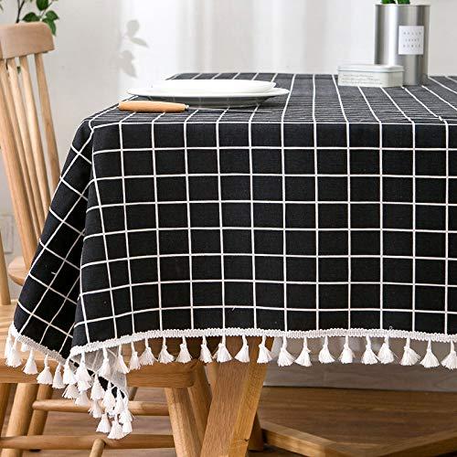 Creek Ywh tafelkleed in Japanse stijl, linnen, tafelkleed, tafel, salontafel, tafelkleed, klein, lang en vierkant, zwart (kwast), 130 x 180 cm