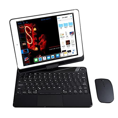 ktong Estuche para Teclado con Panel táctil para iPad 2020/2019 10.2', combinación de Estuche para Teclado y Mouse retroiluminado Giratorio de 360 °, Incluye Funda para Tableta, lápiz Capacitor,Negro