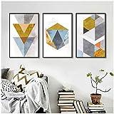 LiangNiInc Nordique Style Abstrait Motifs Géométriques Toile Peinture Affiches Et Impressions Mur Photos pour Salon Décoration 50x70 cm / 19.7'x 27.6' x3 sans Cadre