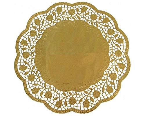 1-PACK Deko-Tortenspitzen rund gold Ø 36 cm, 40 Stück