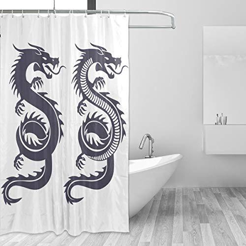 FANTAZIO Duschvorhang, traditioneller chinesischer Drache, Polyester, mit dicken C-förmigen Haken, für Badezimmer, wasserdicht, langlebig & superwasserdicht, 152,4 x 182,9 cm
