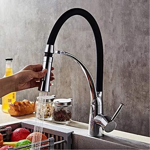LLLYZZ Biggers modern design goudkleur voor uittrekken keukenkraan met koude warmwatermengkraan draaibare bediening met één hand