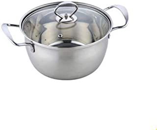 DGDHSIKG Olla de sopa Olla de acero inoxidable Olla de sopa de doble fondo Cocina no magnética Utensilios de cocina multiusos Sartén antiadherente Olla de uso general, 24 cm