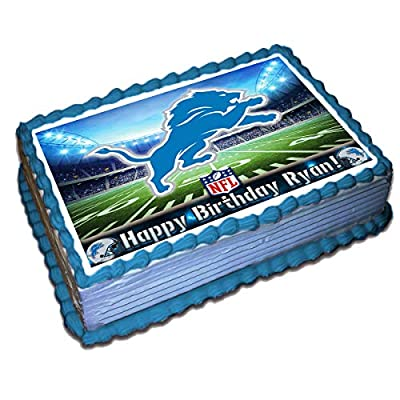 Detroit Lions NFL Personalized Cake Topper Icing Sugar Paper 1/4 8.5 x 11.5 Inches Sheet Edible Frosting Photo Birthday Cake Topper (Best Quality Printing)