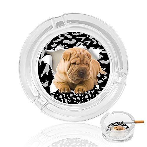 Cenicero de cristal Shar Pei perro hogar cenicero interior al aire libre dormitorio cenicero cenicero lindo mesa de fumar gran regalo para padre fumadores decoración de oficina
