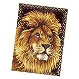 chiwanji Formteppich Löwe Knüpfteppich Knüpfset Knüpfpackung zum Selber Knüpfen Teppich für Kinder, Erwachsene oder Anfänger, Latch Hook Kits 75x54cm