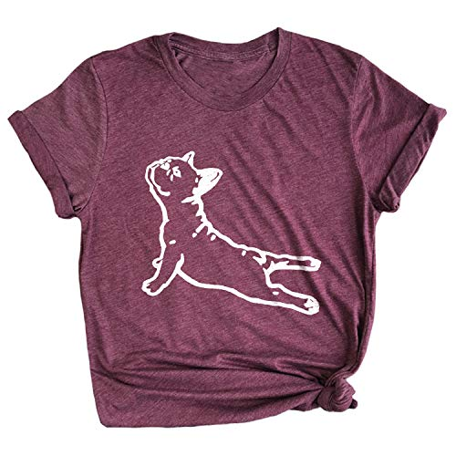 Spunky Pineapple DOGA Frenchie Yoga Pose Funny French Bull Dog Premium T-Shirt Maroon