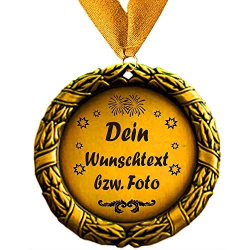 Larius Group Medaille Orden Beste Mama / Bester Papa der Welt BZW. Wunschtext Eltern Geschenk Geburtstag Weihnachten Muttertag (Ihr Wunschtext + Halsband)