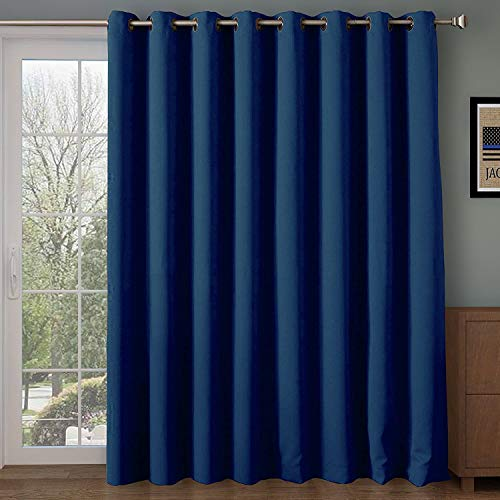 Rose Home Fashion RHF Wide Thermal Blackout Patio Door Curtain Panel, Sliding Door Curtains Antique Bronze Grommet Top 100W by 84L Inches-Navy (SYNCHKG088929)