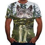 Camisa Hombre Moderna Urbana Personalidad Moda 3D Impresión Hombre Casuales Camisa Verano Clásico Cuello Redondo Manga Corta Camiseta Creativa Novedad Streetwear T09 S