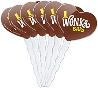 GRAPHICS & MORE Willy Wonka and The Chocolate Factory Wonka Bar Logo Heart Love Cupcake Picks Toppers Decoration Set of 6