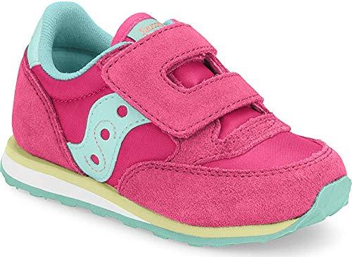 Saucony Boys' Baby Jazz Hook & Loop Sneaker, Pink/Turqoise/Lime, 8 M US Toddler