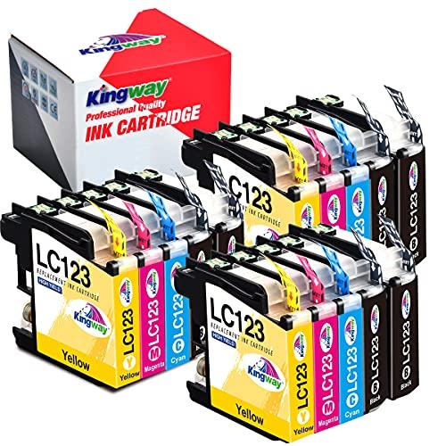 Kingway LC123 Druckerpatronen Ersatz für Brother LC123 LC-123 Patronen für Brother MFC-J470DW MFC-J6520DW MFC-J4410DW DCP-J552DW DCP-J132W DCP-J4110DW MFC-J870DW MFC-J4510DW(6BK,3C,3M, 3Y)