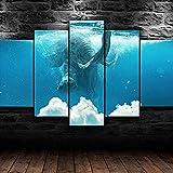 Elefante submarino abstracto lienzo arte de pared 5 piezas lienzo impreso moderno HD cartel modular cuadro impreso en lienzo, utilizado para la decoración de la sala de estar, 100 × 50 cm