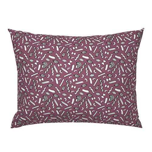 Roostery Pillow Sham, Purple Pasta Modern Kitchen Decor Italian Rigatoni Macaroni Food Noodle Penne Crowlands Print, 100% Cotton Sateen 26in x 26in Knife-Edge Sham