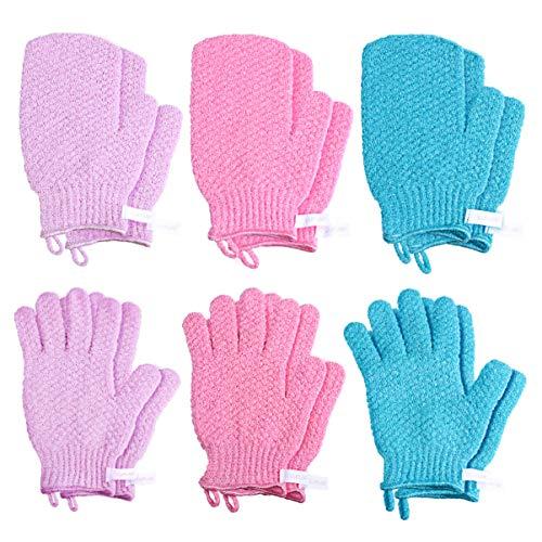浴用手袋 お風呂手袋 泡立ち グローブ バスグローブ ナイロン シャワー 垢すり手袋 両面 五本指 子供大人兼用 入浴用 6ペア 12枚セット(混色)