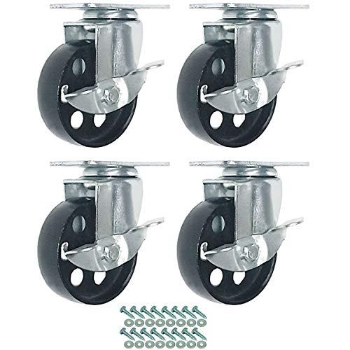 FactorDuty 4 All Steel Metal Swivel Plate Caster Wheels Heavy Duty High-Gauge Steel w/Screws (3' with Brake)