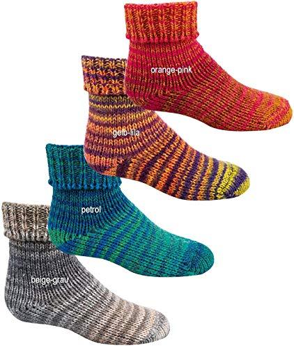 """socksPur Kinder-Woll-Söckchen """"Skandinavien-Style"""" wie handgestrickt, mit doppeltem Umschlag 2er-BÜNDEL (27/30, 3198: orange-pink)"""