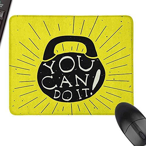 N\A Mouse Pad Fitness Weight Kettlebell Figura Disegnata a Mano con You Can Do It Messaggio Motivazionale Precisamente Controllabile, Giallo Nero Crema