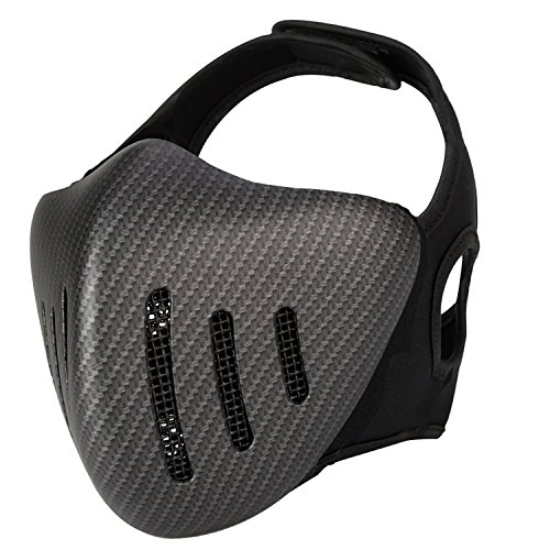 haoYK Taktische Airsoft Halbgesichtsmaske aus Metallgeflecht, Cosplay-Maske atmungsaktiv, schützend, militärisch, Paintball-Maske Woodland (CF)