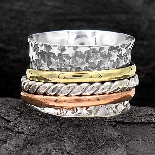 925 Sterling Silver Meditation ring statement Spinner All Size Handmade US-74