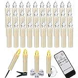 ZIYOUDOLI LED kerzen Weihnachtskerzen mit Fernbedienung Timer AAA-Batterien Dimmbar, Christbaumkerzen Kabellose Weihnachtsbaumkerzen für Weihnachtsbaum Weihnachtsdeko Hochzeit(30er)