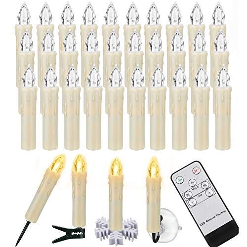 LED-lys Julelys med fjernkontroll Timer AAA-batterier kan dimmes, juletrelys Trådløse juletrelys til juletre Juledekorasjon bryllup (30-tallet)