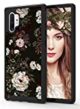 ShinyMax Galaxy Note 10 Plus Case with Roses Design,Samsung Note 10 Plus 5G Case,Hybrid Triple Layer Armor Plustective Cover Sturdy Anti-Scratch ShockPlusof Cute Case for Women and Girls-Flowers/Black