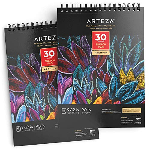 "Arteza 9X12"" Black Sketch Pad, Pack of 2, 60 Sheets (90lb/150gsm), 30 Sheets Each, Spiral-Bound, Heavyweight Paper, Perfect for Graphite & Colored Pencils, Charcoal, Oil Pastels, Gel Pens, Chalk, Ink"